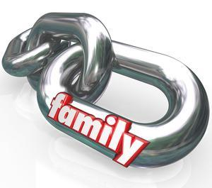 "Large chains with ""family"" written on one link"