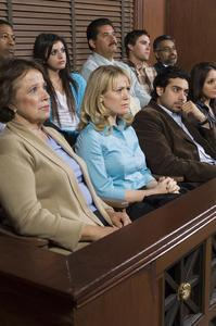 A jury watching a trial for a category B felony in Nevada.
