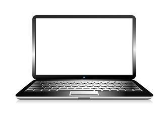 A laptop open showing a white screen