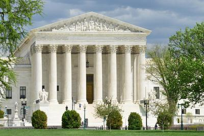 The facade of the Supreme Court building in Washington, D.C.