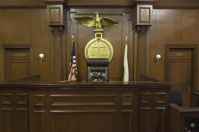 the judge's chair in a courtroom