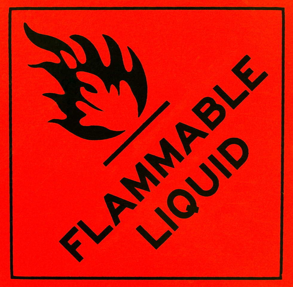 Caustic flammable