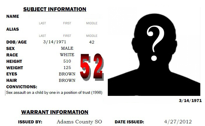Colorado sex offender registry info with silhouette of man