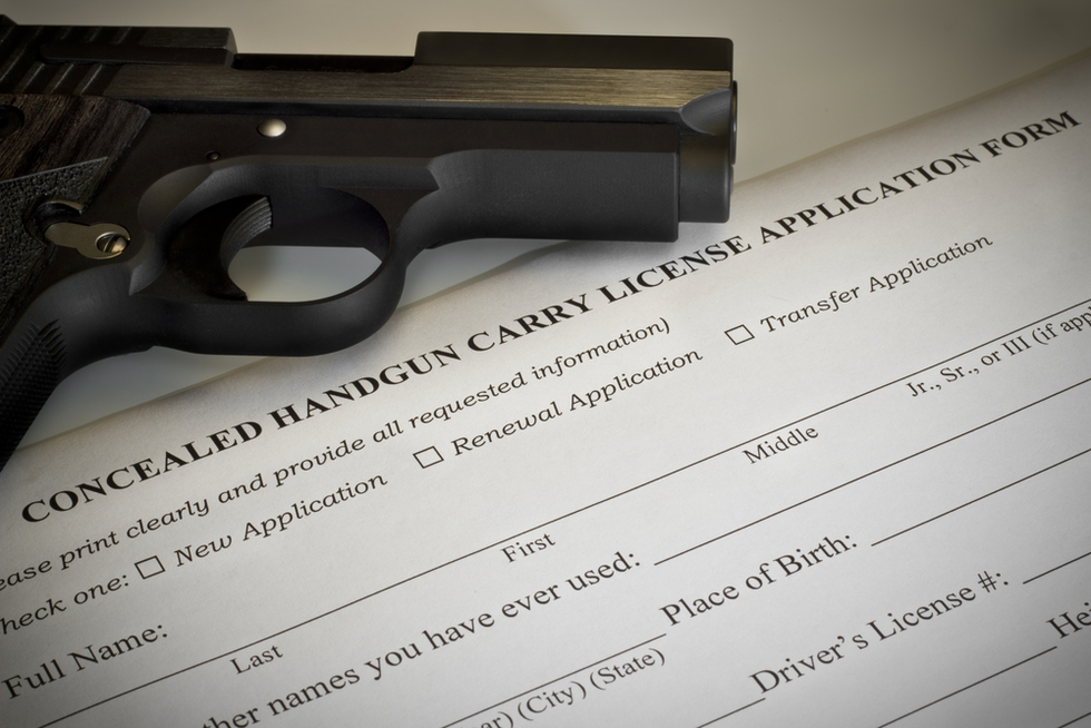 handgun and blank concealed handgun permit application