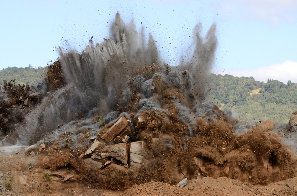 blasting of a future construction site