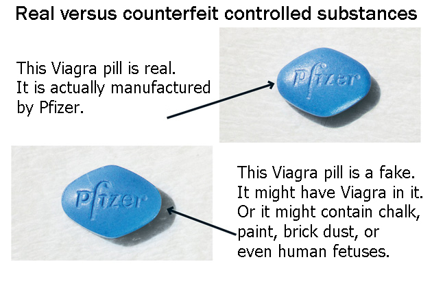 two blue Viagra pills - one real, one fake