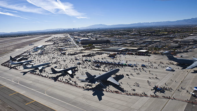 Airplanes parked on tarmac at Nellis Air Force Base, Nevada