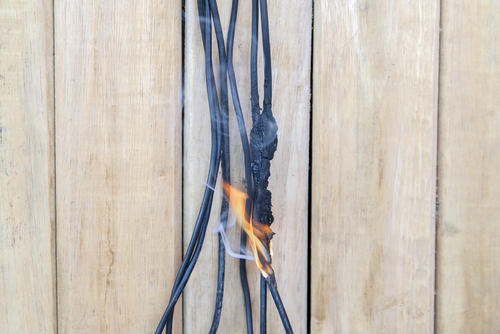 electrical wires on fire