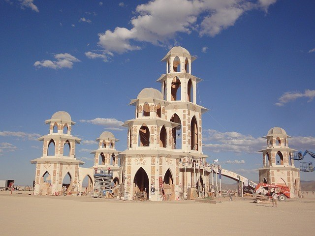 temporary towers in the desert at Burning Man festival