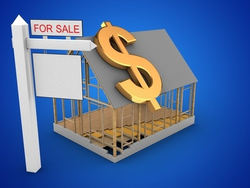 illustration of house with for sale sign and dollar sign over it (alimony)