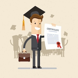 excited man holding certificate