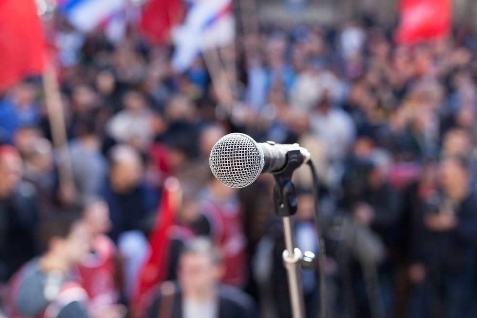 Microphone-at-political-rally