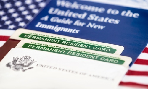 U.S. welcome brochure and permanent resident card