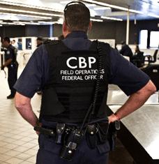 Back of Customs and Border Patrol officer in uniform