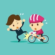 cartoon of bike accident (filing a pedestrian accident lawsuit)