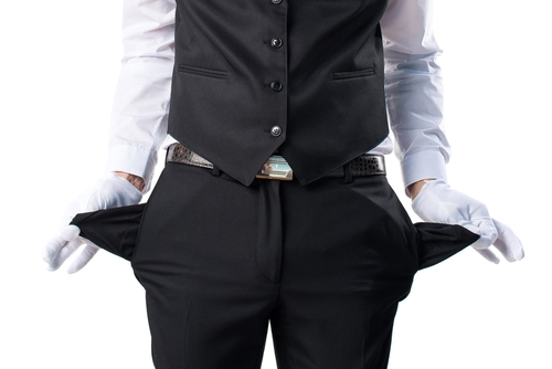 waiter showing his empty pockets