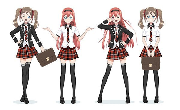 Japanese manga-style schoolgirls in plaid skirts and black stockings
