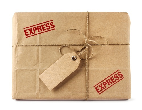 "package wrapped in brown paper and stamped ""express"""