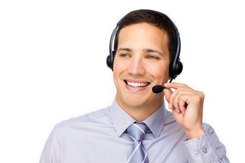 male receptionist wearing headset