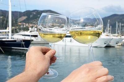 Drinking Wine on a Yacht