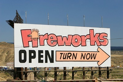 Sign advertising fireworks for sale