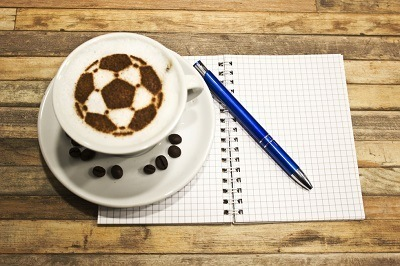 Coffee with Soccer Shaped Foam