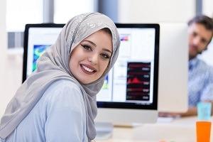 Muslim female employee in office