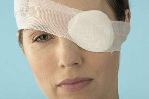 Woman Recovering From LASIK