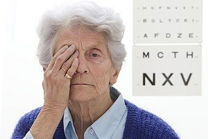 Older woman taking eye exam