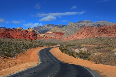 road into Red Rock Canyon National Conservation area in Nevada