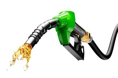 gasoline spurting from gas nozzle