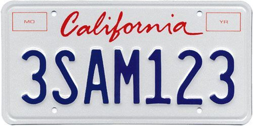 California license plate with no vehicle registration stickers - a violation of 4000a1 VC