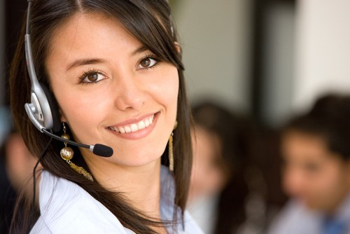 female receptionist smiling