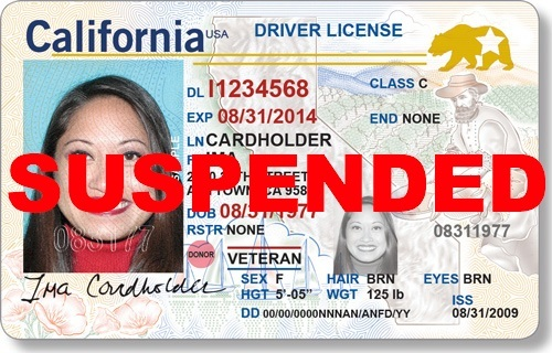 example of california id, with suspended stamped on top