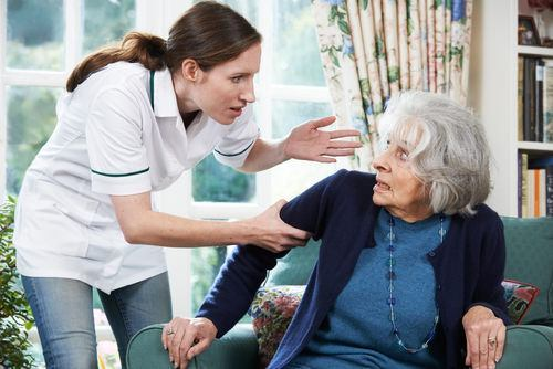 nurse yelling at old lady