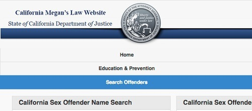 screenshot of california's megan's law website