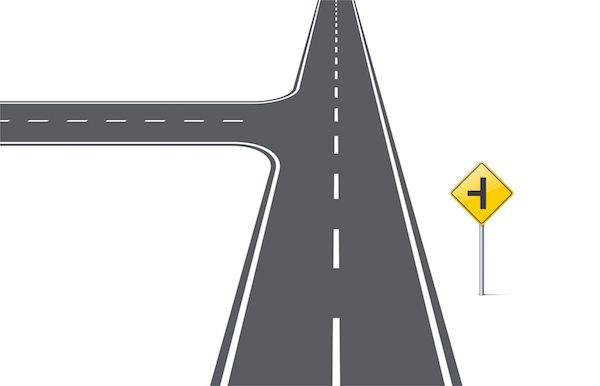 Cartoon rendering of road with intersection