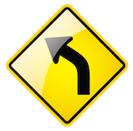 Left turn traffic sign