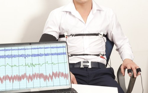 man taking lie detector test