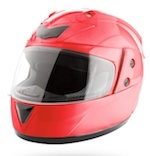 Three-quarter view of red motorcycle helmet
