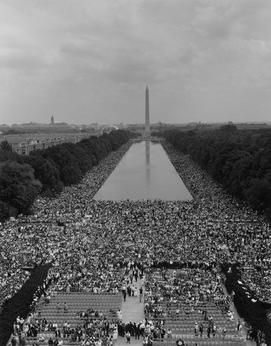 Large gathering in Washington DC during 1963 civil rights march