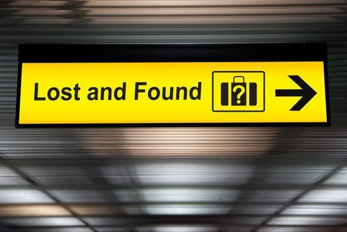 lost and found sign at airport