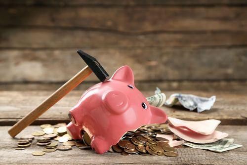 a broken piggy bang