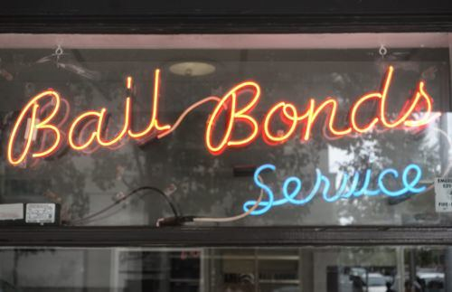 bail bonds sign on shop window