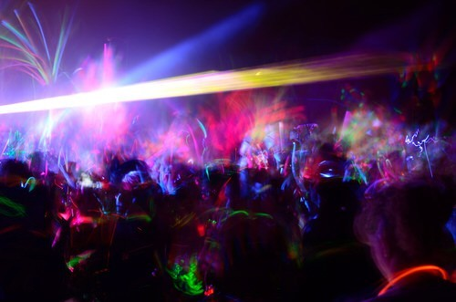 rave scene with bright neon lights
