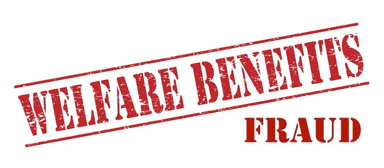 "Red lettering of ""Welfare Benefits Fraud"""