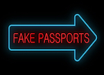 "An illuminated arrow sign saying ""fake passport"""