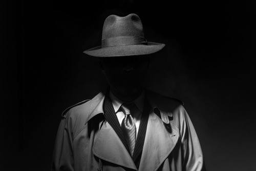 man in fedora and trenchcoat, face hidden by shadow