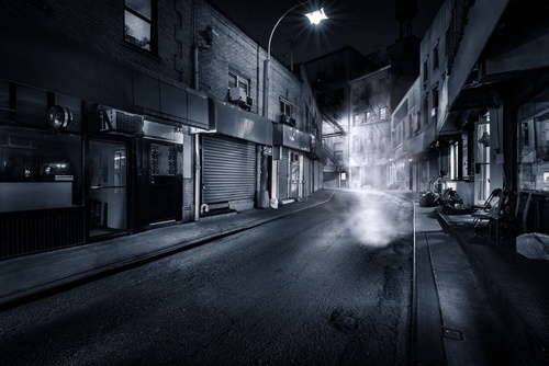 an empty urban street at night