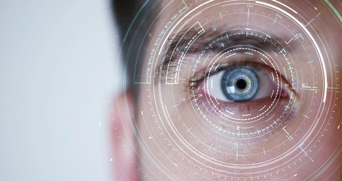 blue eyes with a biometric graphic overlayed